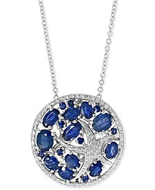 "EFFY® Sapphire (3 ct. t.w.) & Diamond (1/5 ct. t.w.) Starfish 18"" Pendant Necklace in 14k White Gold"