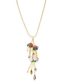 "INC Gold-Tone Beaded Flower Long Pendant Necklace, 30"" + 3"" extender, Created for Macy's"