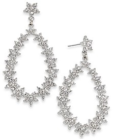 INC Silver-Tone Crystal Flower Open Drop Earrings, Created for Macy's