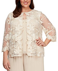 Plus Size Layered-Look Embroidered Jacket Top