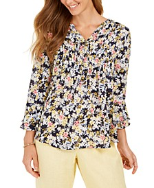 Floral-Print Double-Ruffle Pintuck Top, Created for Macy's