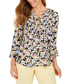 Charter Club Floral-Print Double-Ruffle Pintuck Top, Created for Macy's