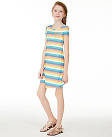 Big Girls Rainbow Stripe T-Shirt Dress, Created for Macy's