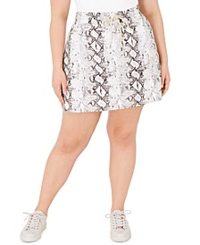 Plus Size Snakeskin Print Skirt, Created for Macy's