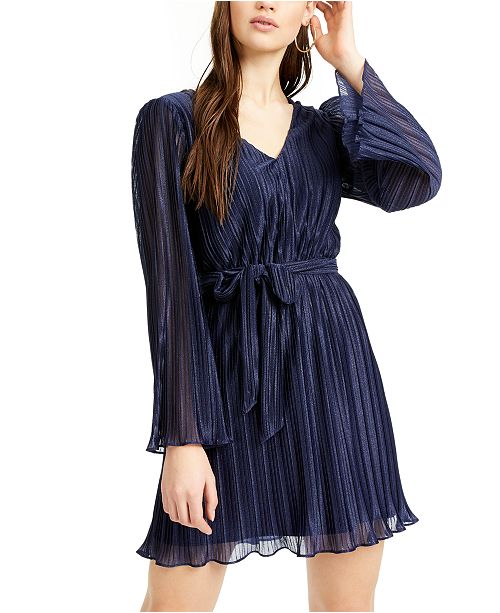 City Studios Juniors' Belted Shimmer Pleated Dress