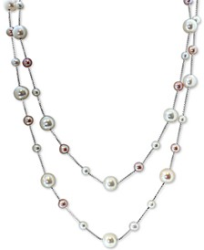 "EFFY® White Cultured Freshwater Pearl (8-1/2 & 4-1/2mm) & Pink Cultured Freshwater Pearl (5-1/2mm) 18 & 20"" Double Strand Necklace in Sterling Silver"