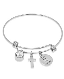 Ladies Stainless Steel Charm Bracelet with Meaningful, Religious Charms