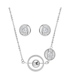 Ladies Stainless Steel Circle and Bar Design Necklace Set, 2 Piece