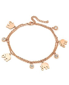 18K Micron Rose Gold Plated Stainless Steel Elephant Charm Adjustable Anklet