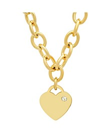 Ladies Stainless Steel 18K Micron Gold Plated Heart Charm Necklace