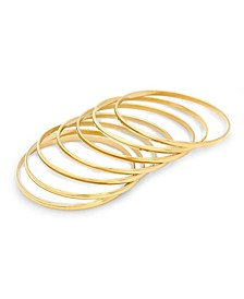 Ladies 18K Micron Gold Plated Stainless Steel Bangle Set, 7 Piece