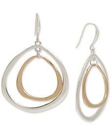 Two-Tone Sculptural Orbital Drop Earrings