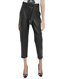 Frankie Faux-Leather Cargo Pants