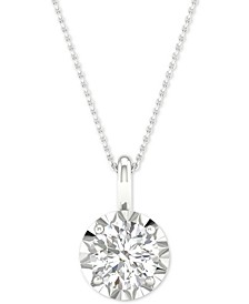 "Diamond Solitaire Pendant Necklace (1/2 ct. t.w.) in 14k White Gold, 16"" + 2"" extender"