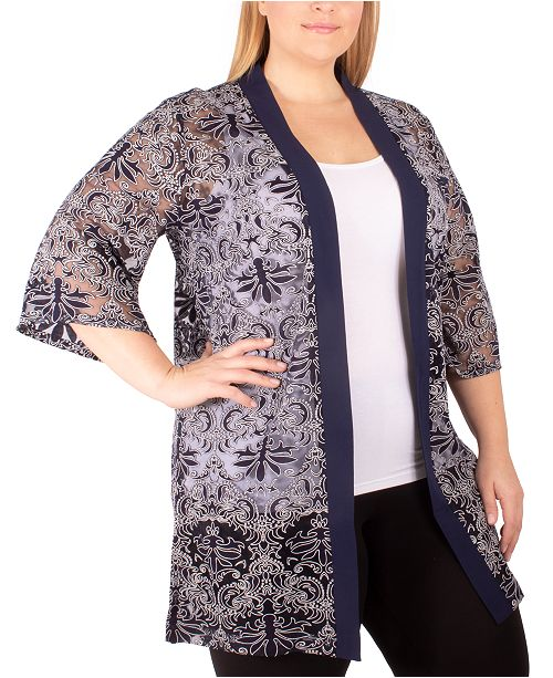 NY Collection Plus Size Sheer Kimono