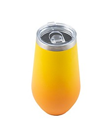16 oz Tall Yellow Ombre Double Wall Tumblers with Silver Polished Rim