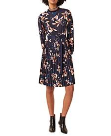 Pleated Mock-Neck Dress