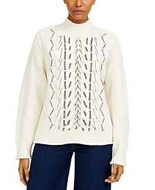 Chain-Trim Cable-Knit Sweater