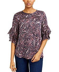 Printed Ruffled-Sleeve Top