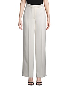 Solid Twill Wide-Leg Pants