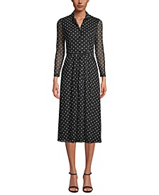 Dot-Print Button-Front Dress