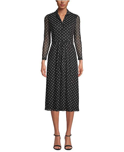 Anne Klein Dot-Print Button-Front Dress