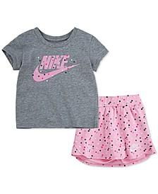Little Girls 2-Pc. Dot 2.0 Scooter Skirt & T-Shirt Set