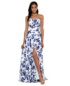 Floral-Print Tulip Gown