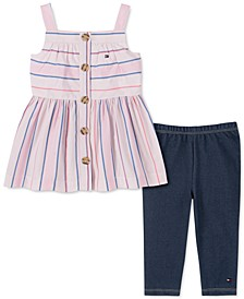 Toddler Girls 2-Pc. Striped Tunic & Leggings Set