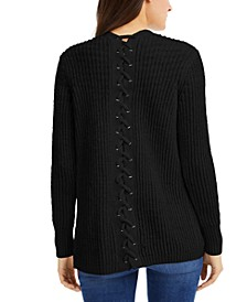 INC Lace-Back Completer Sweater, Created for Macy's