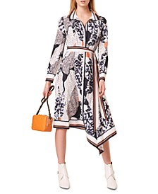Printed Delphine Drape Dress