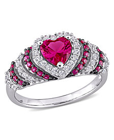 Created Ruby (1 1/3 ct. t.w.) and Created White Sapphire (3/8 ct. t.w.) Heart Vintage Style Ring in Sterling Silver