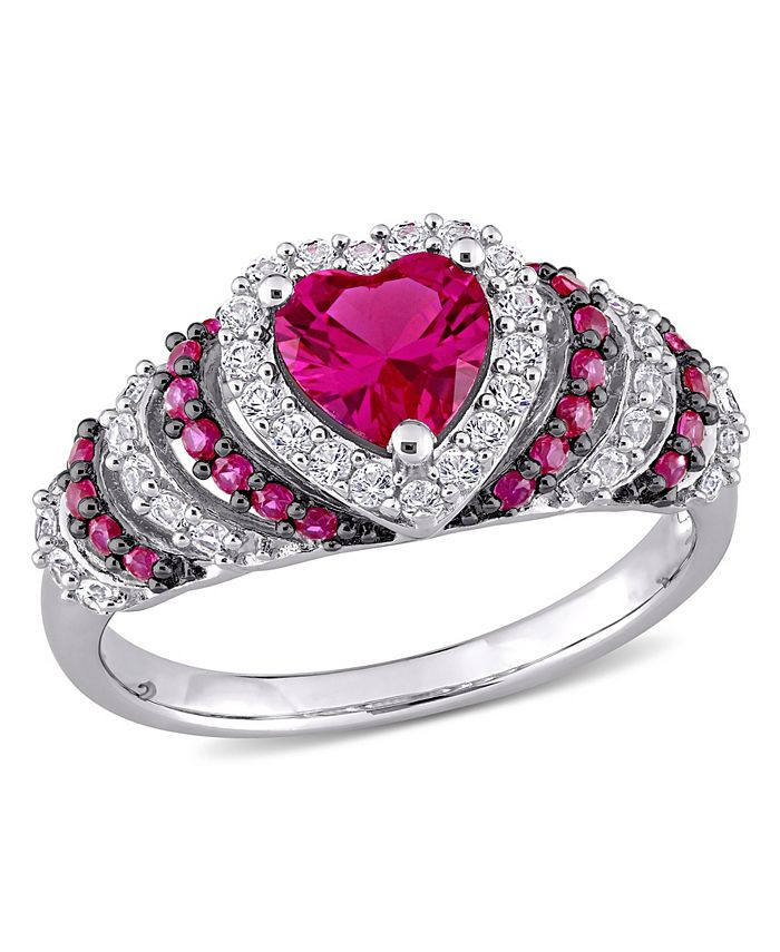 Macy's - Created Ruby (1 1/3 ct. t.w.) and Created White Sapphire (3/8 ct. t.w.) Heart Vintage Style Ring in Sterling Silver