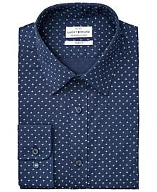 Men's Slim-Fit Performance Stretch Navy Blue/Blue Fleur-de-Lis Print Dress Shirt