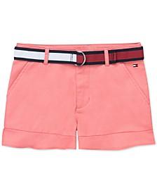 Big Girls Belted Ruffled Shorts