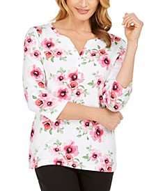 Petite Floral-Print Henley Top, Created for Macy's
