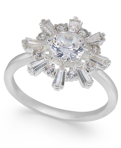Charter Club Silver-Tone Crystal Sunburst Ring, Created For Macy's