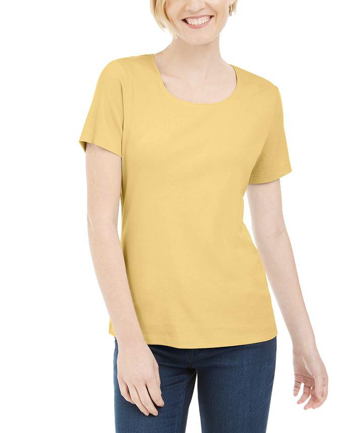 Karen Scott - Short Sleeve Scoop Neck Top, Created for Macy's