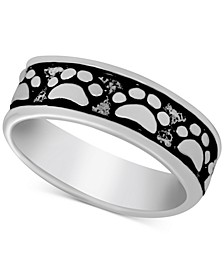 Paw Print Band Ring in Fine Silver-Plate