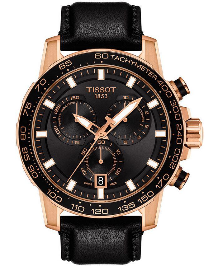 Tissot - Men's Swiss Chronograph Supersport T-Sport Black Leather Strap Watch 46mm