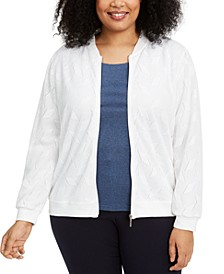 Plus Size Ship Shape Knit Bomber Jacket