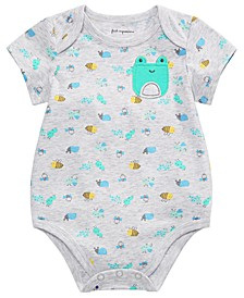 Baby Boys Printed Frog-Pocket Bodysuit, Created for Macy's
