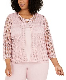 Plus Size Primrose Garden Lace Two-For-One Woven Blouse