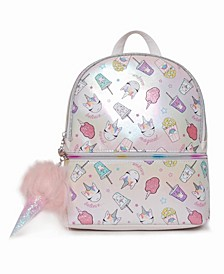 Toddler, Little and Big Kids Miss Gwen's Unicorn Snacks Metallic Mini Backpack with Ice-Cream Charm