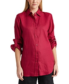 Petite Linen Collared Shirt