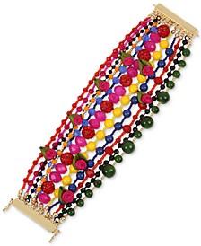 Gold-Tone Bead, Fireball & Fabric Rose Multi-Row Statement Bracelet