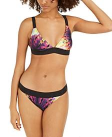 Printed Acid Dye Triangle Logo Bikini Top & Elastic Swim Bottoms