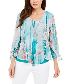 Printed Tie-Sleeve Necklace Top, Created for Macy's