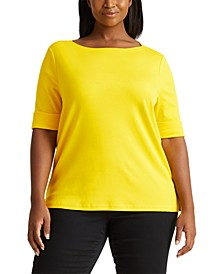 Plus-Size Cotton-Blend Boatneck Top