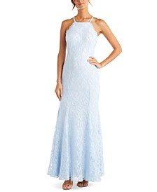 Juniors' Lace Open-Back Gown